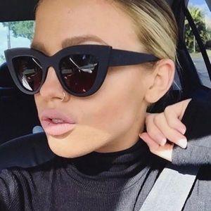 Accessories - Matte Black Women's Cat Eye Sunglasses